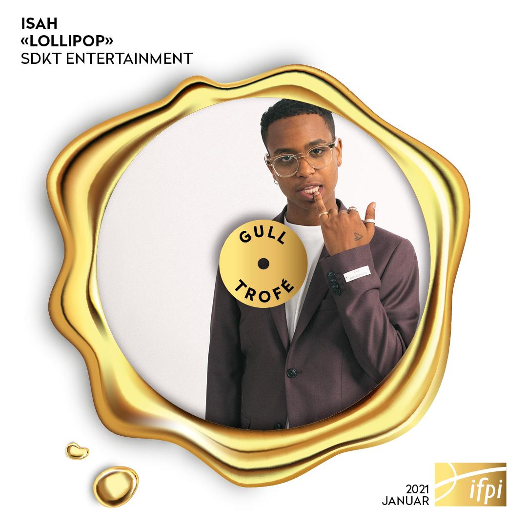 Nye digitale trofeer. Her avbildet med Isah og singelen «Lollipop», som er tildelt gull-trofé